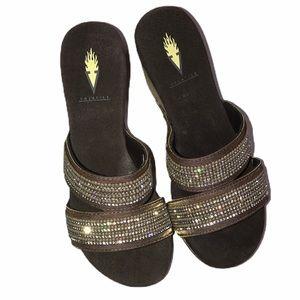 Volatile Candied Bronze Jeweled Sandal - Size 8